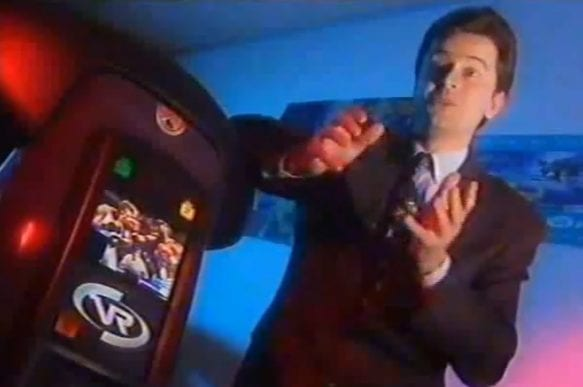 Dr Jonathan Walden Discussing Virtuality in 1994. Image Credit: Virtuality Group